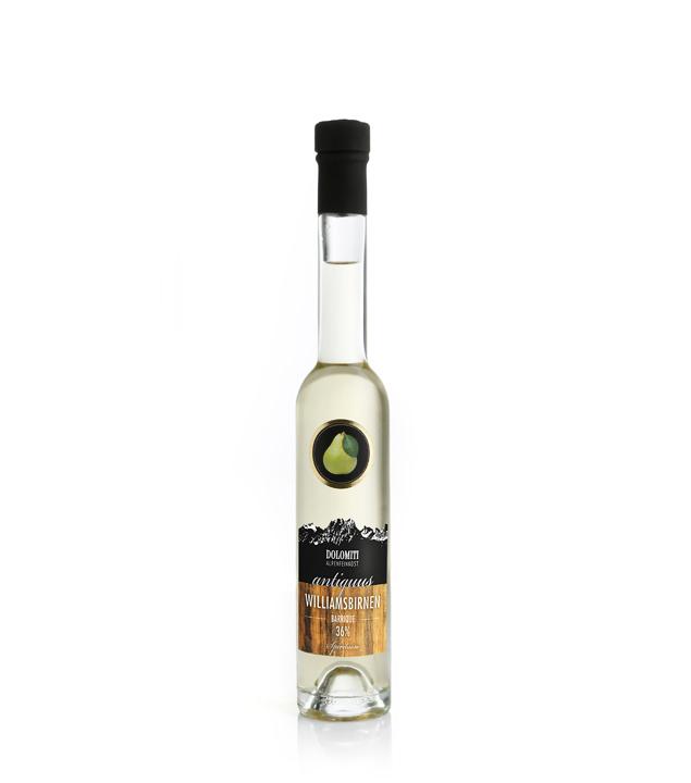 Dolomiti Antiquus Williams-Birnen-Schnaps Barrique / 36 % Vol. / 0,2 Liter-Flasche