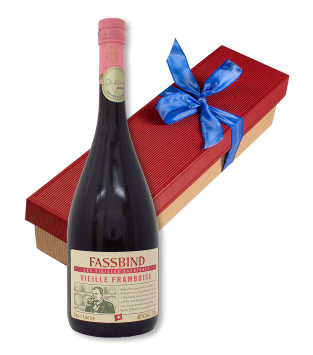 Fassbind Geschenk-Set Vieille Framboise - Fassbind Alte Himbeere 40 % vol. 0,7 l in Geschenk-Box