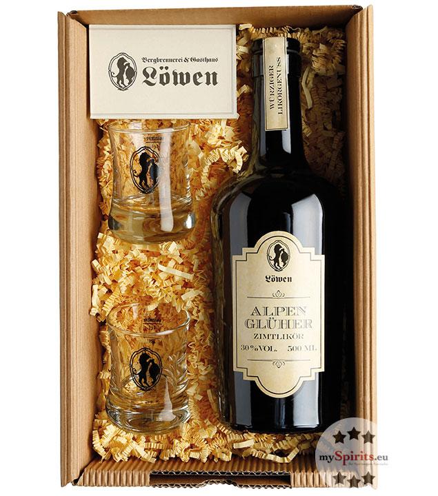 Bergbrennerei Löwen Geschenk-Set Almglüherbox Duo / 30 % Vol. / 0,5 L Flasche