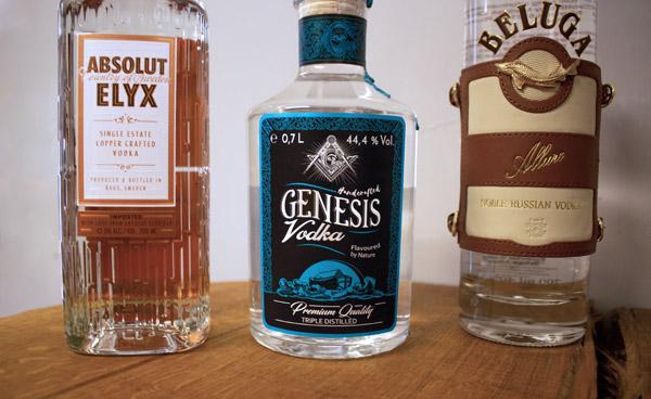 Absolut Elyx Vodka, Genesis Vodka, Beluga Allure Vodka
