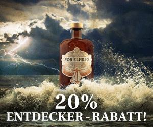 Jetzt kennenlernen und 20 % Entdecker-Rabatt Ron Elmilio + Gratis Glas sichern!