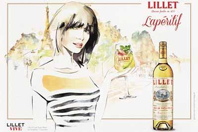 Lillet Aperitif Illustration mit Frau Lillet Vive vor Eiffelturm