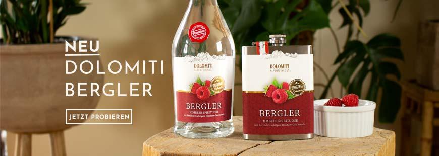 Jetzt neu: Dolomiti Bergler! Probieren Sie jetzt beerigen Genuss in der 0,7L Flasche, aus dem Flachmann oder als Mini!